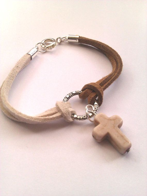Cream and Tan Suede Bracelet Howlite Cross by MysticMoonShadows, £3.00