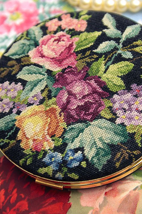 Vintage Home - Beautiful Petit Point Roses Compact.