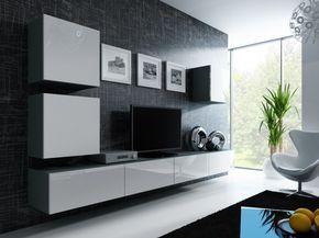 Uberlegen Wohnwand Anbau Wand Fernsehschrank Hängeschrank Regal Hochglanz Matt  Wohnzimmer, Farbe:grau Matt / Weiß