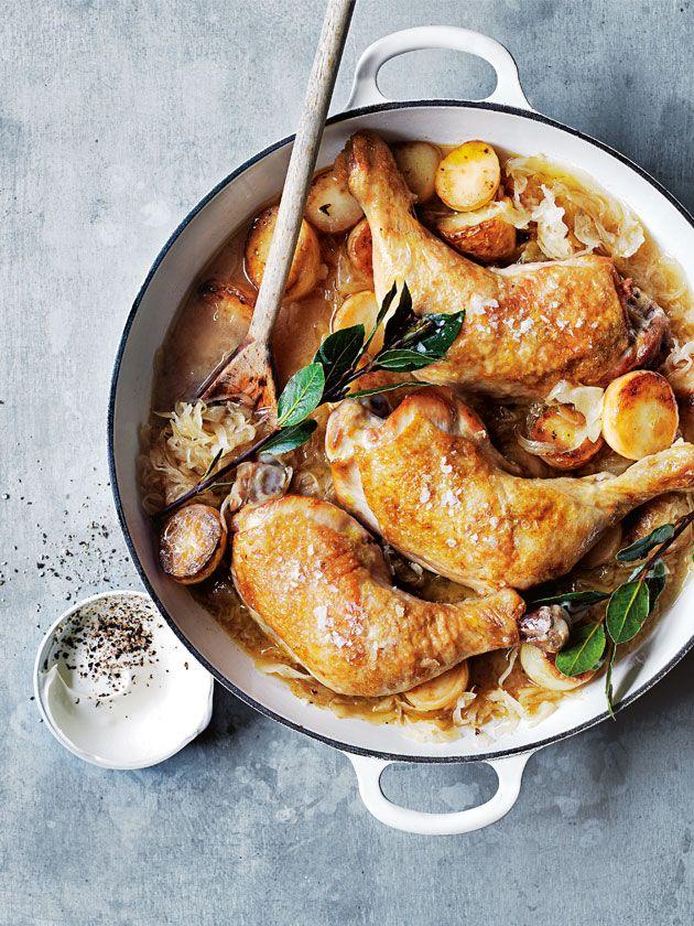 braised sauerkraut chicken with potatoes and sour cream