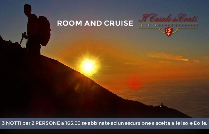 "OFFER ""ROOM AND CRUISE""  3 nights for 2 PEOPLE to 165.00/180.00 (mid / high season) when combined with an excursion to  either the Aeolian Islands."