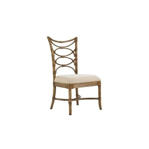 Tommy Bahama Beach House Sanibel Side Dining Chair ($521) ❤ liked on Polyvore featuring home, furniture, chairs, dining chairs, patterned dining chairs, beige dining chairs, woven dining chairs, tommy bahama and tommy bahama furniture