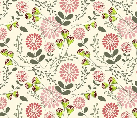 Tessa's Floral Toss fabric by simple_felicities on Spoonflower - custom fabric
