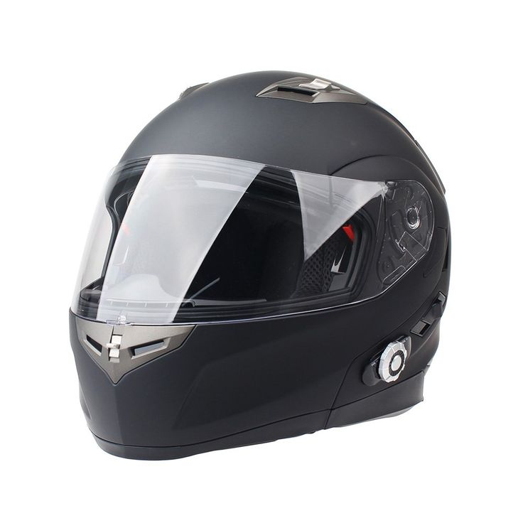 FreedConn Bluetooth Motorcycle Helmet Integrated Modular Flip up Full or Half Face Dual Visor Mp3 Intercom (Matte Black, XL)
