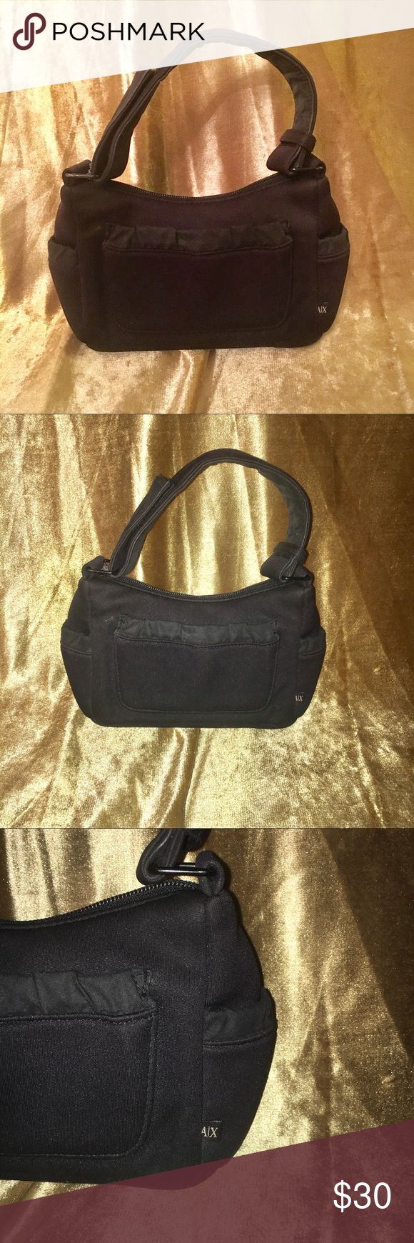 Small Armani Exchange Handbag 👜 Black Armani Exchange Bag With Side pockets - zipper closure and inside pocket. Cute for trips to mall/ perfect size for a tween or someone who is a minimalist and prefers a small purse A/X Armani Exchange Bags Mini Bags