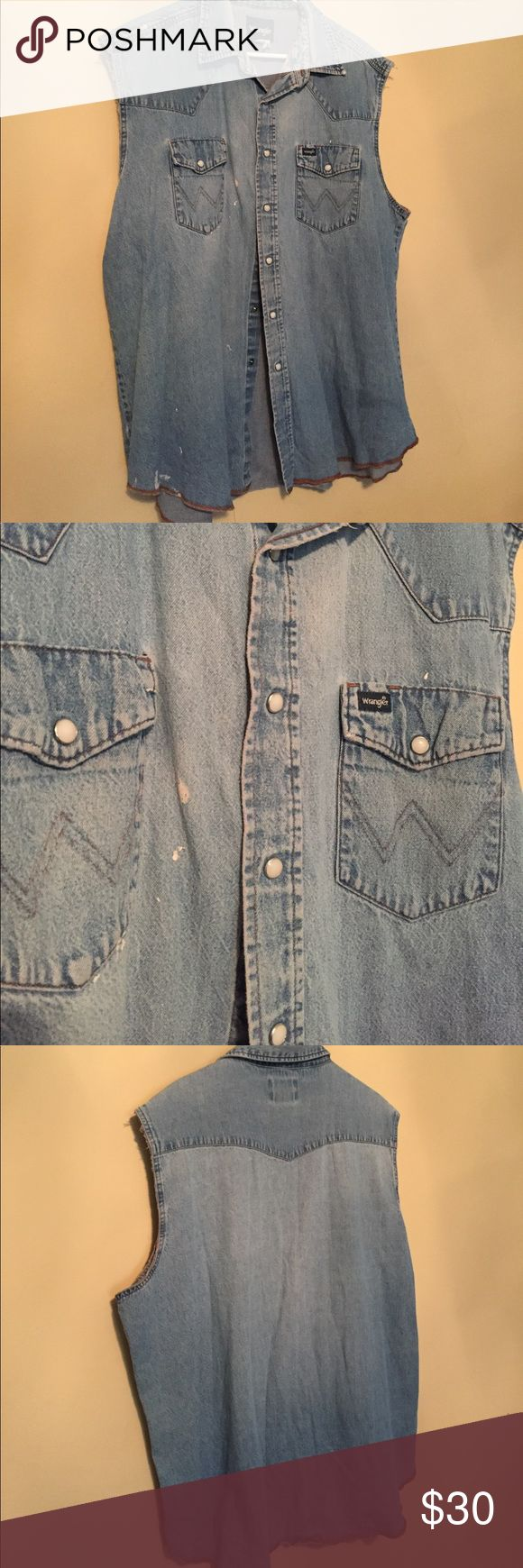 Vintage wrangler denim shirt Vintage wrangler. Paint spots throughout shirt. Wrangler Shirts Tank Tops