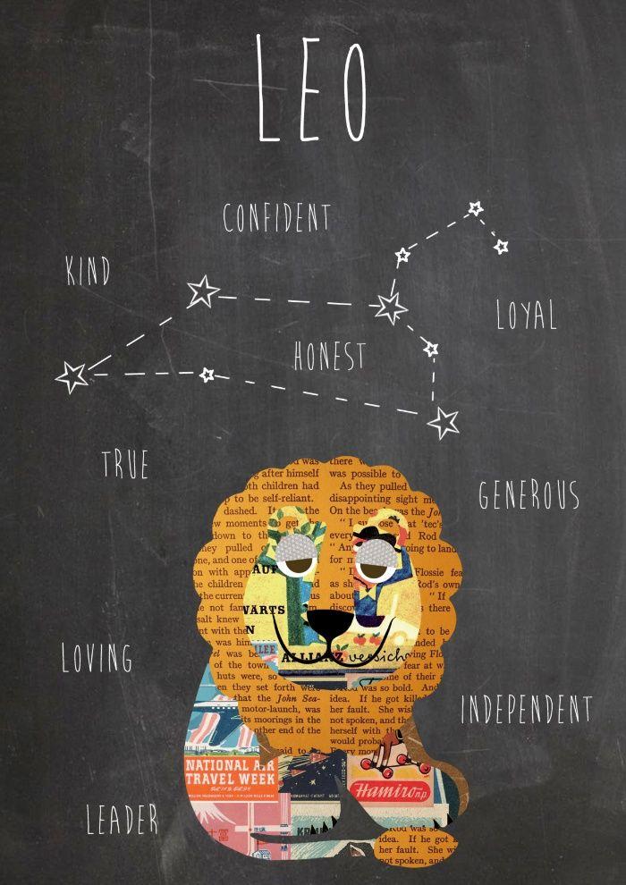 Zodiac Leo Constellation and Traits Art Print by Claudia Schoen