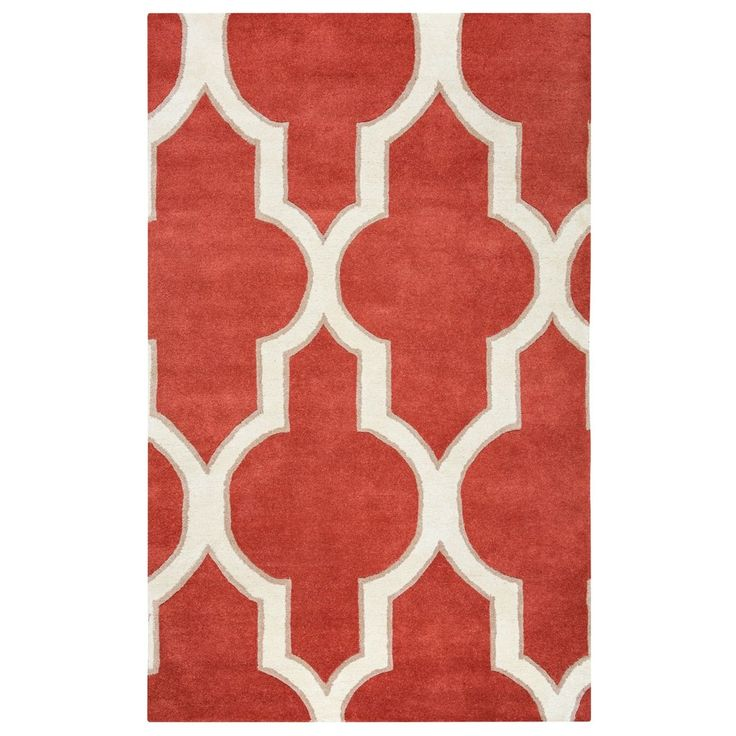 Rizzy Home Volare Red Wool Hand-tufted Trellis Rug (3' x 5') (VO2134 RED 3' X 5' Hand-Tufted Trellis Rugs), Size 3' x 5'