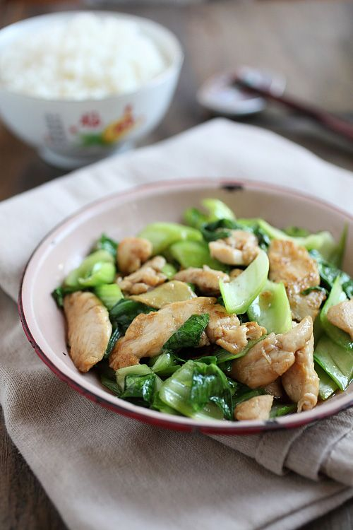 Bok Choy Chicken recipe. Simple stir-fry dish with baby bok choy and chicken, easy, healthy, light, and refreshing. http://rasamalaysia.com