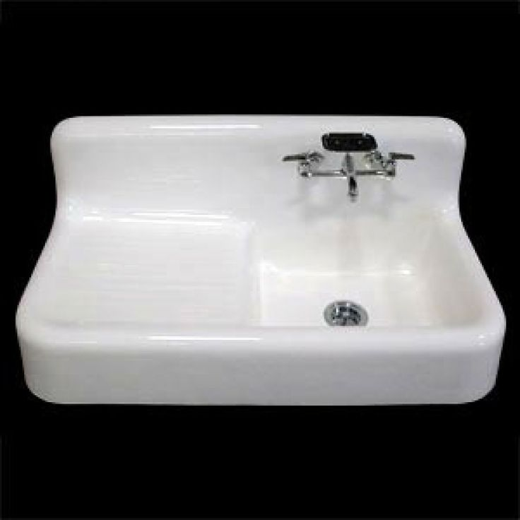 "Old Farmhouse Kitchen Sinks: 42"" Cast Iron Wall-Hung Kitchen Sink With Drainboard"