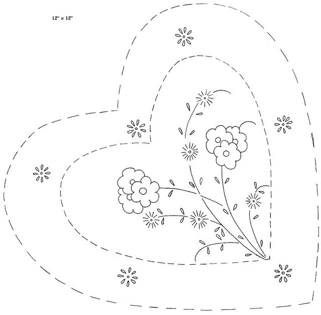 """heart shape pillow a  For a 12"""" x 12"""" pillow. Unknown manufacturer. I copied this from an old copy of Aunt Nettie's. Her copy was from the late 1950's or early 60's. Could have been earlier than that because I found them in papers dated in the 40's and earlier."""