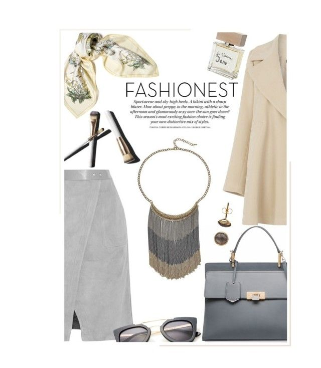"""""""Fashionest: Trendy Fashion Jewelry"""" by theseanymph ❤ liked on Polyvore featuring Warehouse, Halston Heritage, Hermès, Balenciaga, Garance Doré, Bella Freud, Fall and coat"""