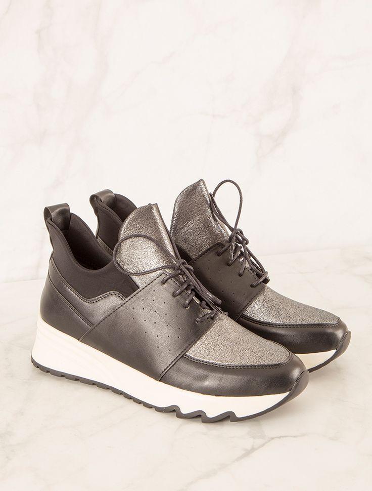 SPOR AYAKKABI Ernesto Siyah Gümüş Spor Ayakkabı