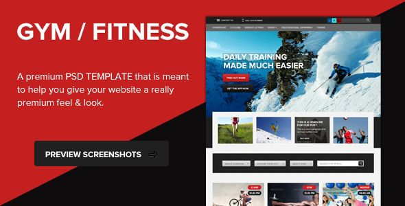 GYM - Fitness PSD Template