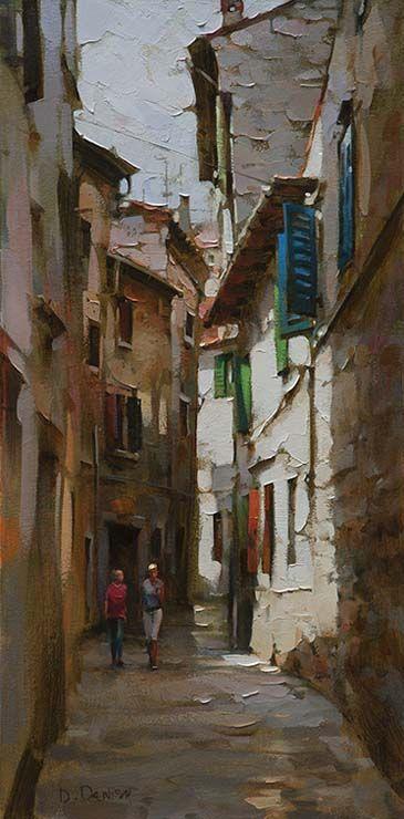 Original Painting, Old Town Walk by Dimitri Danish