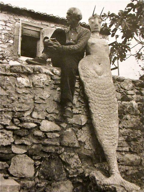 Max Ernst chillin with Mermaid, Saint-Martin d' Ardeche, France. 1939.