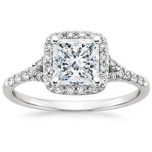 This 18K White Gold Harmony Ring has a 1.07 carat Princess shaped  conflict free diamond with I-color, SI2-clarity, and Good-cut.