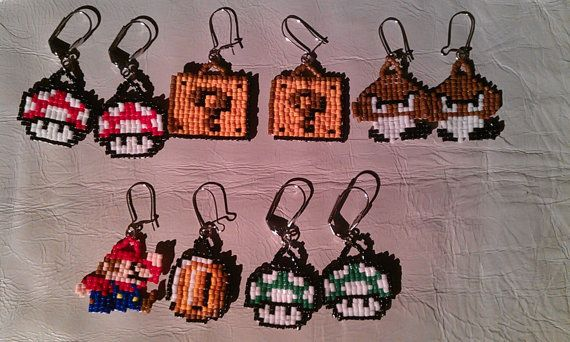 I will have some Nintendo Super Mario earrings for sale this weekend! I grew up in the 80s with 8Bit video games. These earrings came from a nostalgia I have for those wonderful games and all of the time I spent playing them. These are made from Size 11/0 Delica beads.