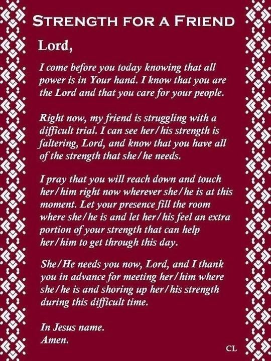 prayers for strength and comfort | Strength For A Friend Prayer | Ann - A Friend of Jesus 2013