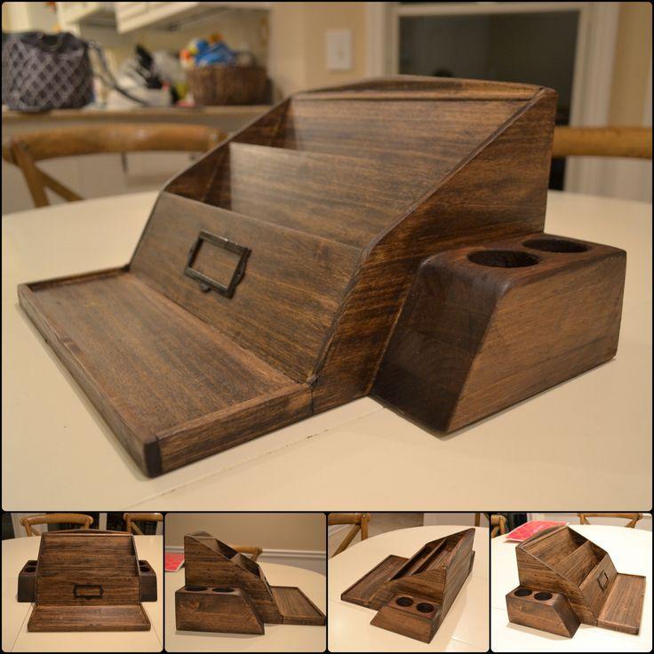 Wooden poplar desk organizer