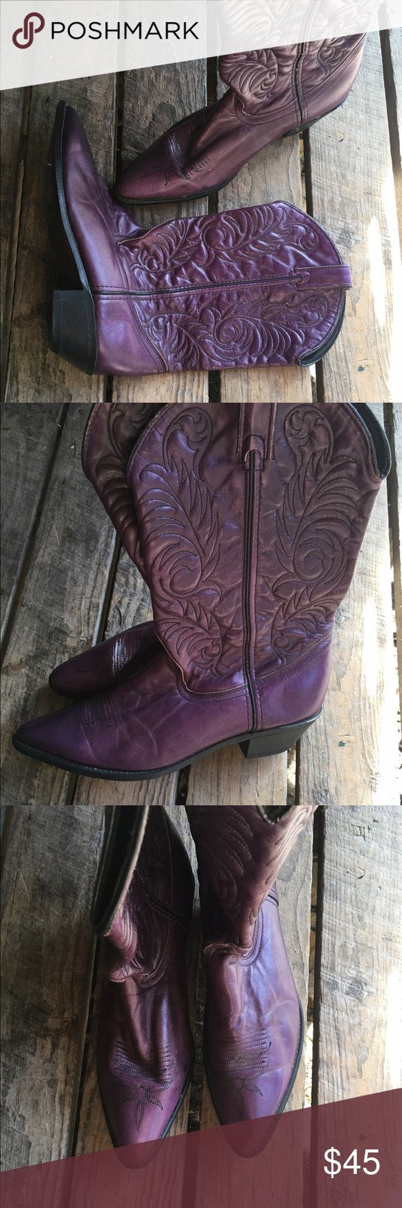Acme Purple Cowboy Boots, Size 9 Embroidered Acme purple cowboy boots, women's size 9. Might be vintage. They're amazing. acme Shoes Heeled Boots