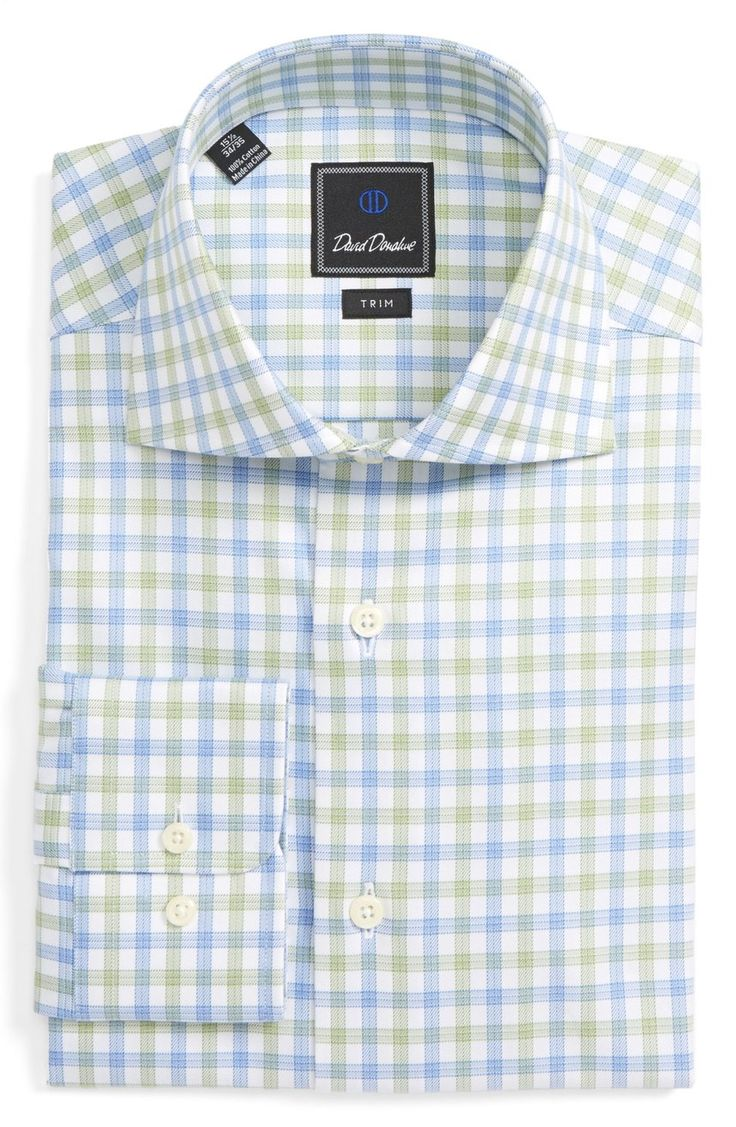 david-donahue-mens-button-down-shirt-for-work-spring-grass-check-trim-fit