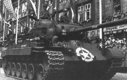 M26 Pershing tank of US 8th Armored Division on parade in Pilsen, Czechoslovakia, 1945