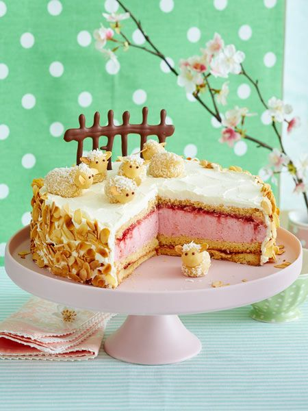 Strawberry cream cake with marzipan sheep   – Torten