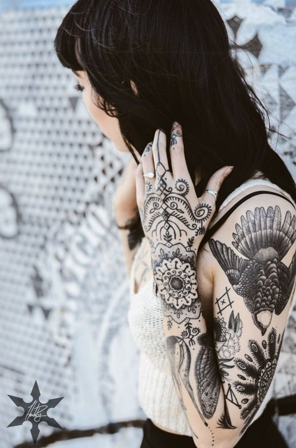100 Dark Black Tattoos That Prove The Best Color Is No Color Black Tattoos Hannah Pixie Hand Tattoos