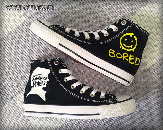 Sherlock 'Bored' Painted Shoes / Custom Converse by FeslegenDesign