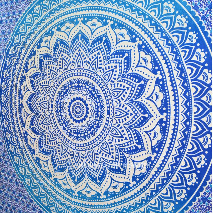 Blue Multi Indian Ombre Mandala Wall Tapestry, Hippie Bedding