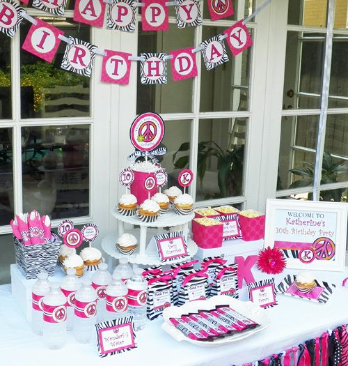 Hot Pink Zebra Peace Sign Party | CatchMyParty.com