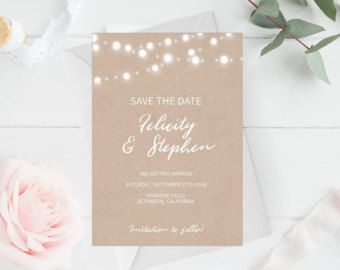 Purchase this listing to instantly download, edit and print your own save the date wedding invitations! Download your high-resolution 5X7 template instantly after your payment is complete!  H O W ⋆ I T ⋆ W O R K S ---------------------------------------------- 1. Checkout & download file(s) 2. IMPORTANT: Open the PDF in Acrobat Reader — Free Download: www.get.adobe.com/reader 3. Update highlighted text fields (Files are pre-populated as a guide) — See gallery images which indicates e...