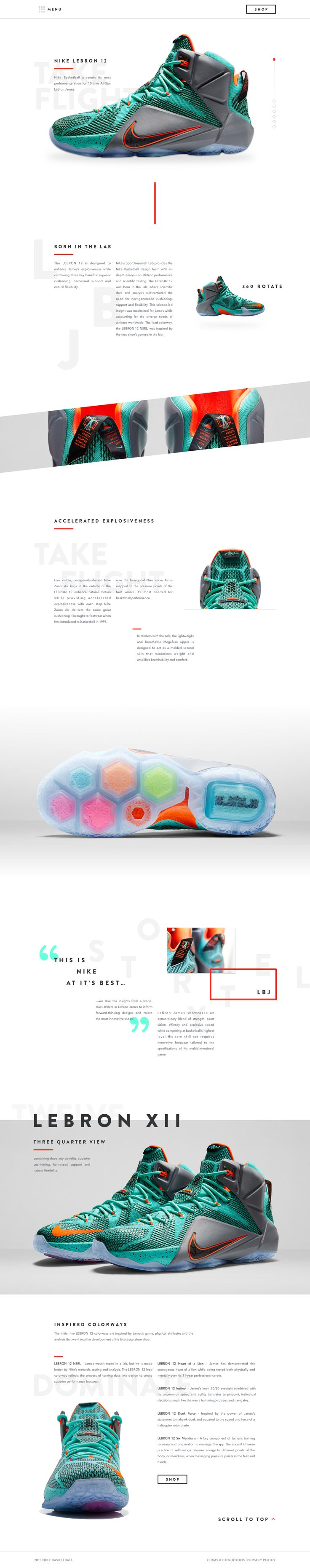 Nike product page design: