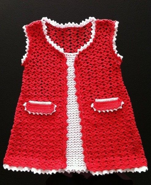 Red and White Baby Dress free crochet graph pattern