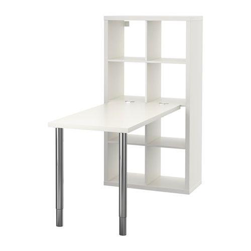IKEA - KALLAX, デスクコンビネーション, ホワイト, , 背面も前面と同じ仕上げなので、どちらから見ても美しく、部屋の間仕切りとしても使えます縦横どちらの向きでも使えます。書棚としてもサイドボードとしても使えます脚を取り付けるための下穴が開いています伸縮脚付き。ワークトップの高さを70-107cmの間で調節できます脚の先がプラスチックなので、テーブルを移動するときに床に傷が付きません接続固定具がテーブルトップにふれる面には保護用のフェルトを貼ってあるので、テーブルトップを傷付けません