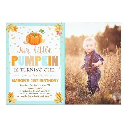 #Pumpkin Birthday invitation Boy Birthday Fall blue - #birthdayinvitation #birthday #party #invitation #cool #parties #invitations