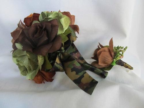 Silk Flower Camo Bouquet