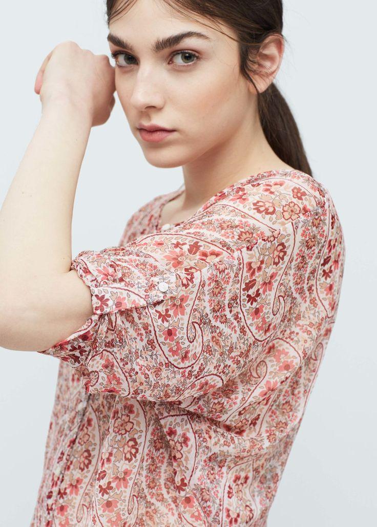 Струящаяся блузка - Рубашки - Женская | MANGO МАНГО Россия (Российская Федерация)