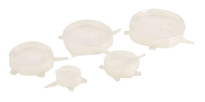 SILIKON SYLID  Kit di n° 5 coperchi in silicone estensibili universali per la conservazione degli alimenti, si adattano a pentole, piatti e contenitori in genere.  Resistenti da -40° a -200°, ideali per frigo, freezer, forno e microonde.