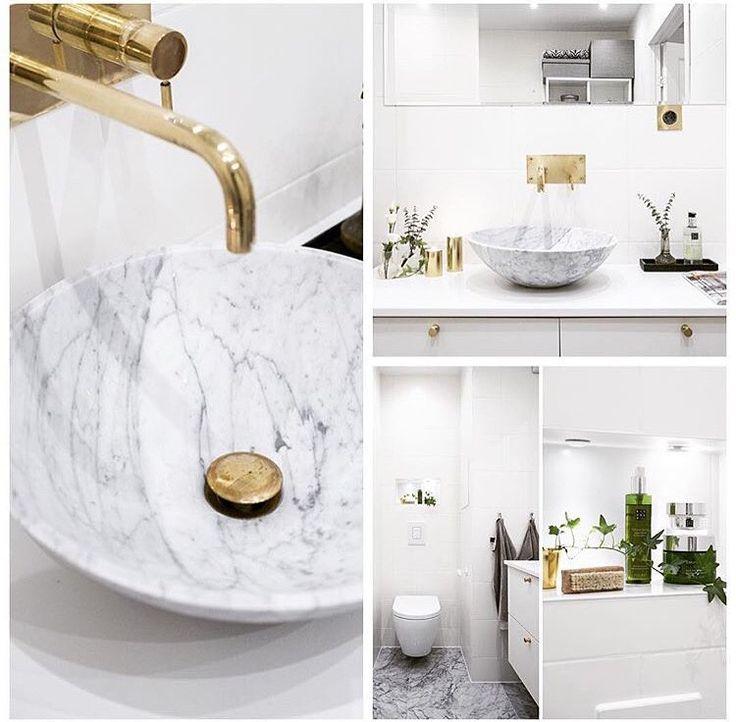 Inspiration för badrum, marmor, vitt och guld!
