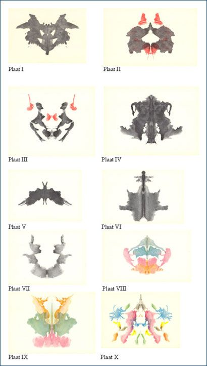 Original Rorschach Test with 10 images. 5 black and white and 5 in colour. These are the 10 cards most psychologists would have used in the prime of this test being used. The test reflected the personality of a human being by see what their perception of the world is. Positive? Negative?
