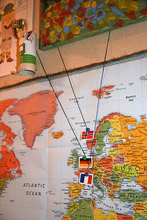 Use with flag and photos of missionaries we're praying for (Bulletin Board Map)