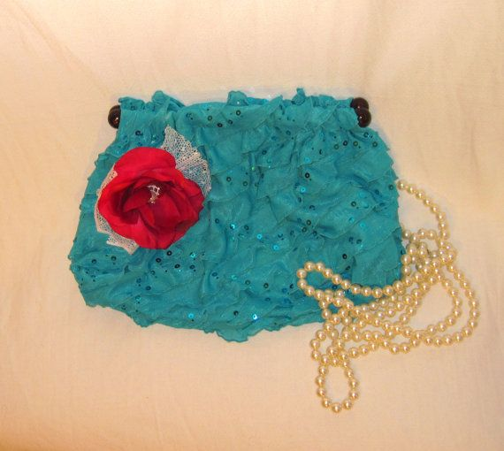 Handmade Bright Turquoise Color Sequin Ruffled Brid Clutch Purse, Embellished with Handmade Flower, For Special Occasions Party Prom Wedding by 777DressCode, $39.00