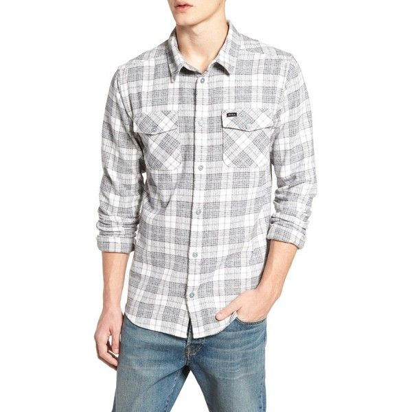 Men's Rvca 'That'Ll Work' Trim Fit Plaid Flannel Shirt ($60) ❤ liked on Polyvore featuring men's fashion, men's clothing, men's shirts, men's casual shirts, antique white, off white mens dress shirt, mens plaid shirts, mens flannel plaid shirts and rvca mens shirts