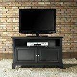 Crosley Furniture Newport 42-Inch TV Stand, Black. Accomodates most 44-inch TV's. Solid hardwood and veneer construction. Hand rubbed, multi-step finish. Beautiful raised panel doors. Brushed nickel hardware.