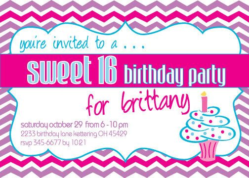 Chevron Cupcake Happy Birthday Invite
