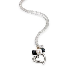 silver open heart necklace. Available in a colour to suit you.