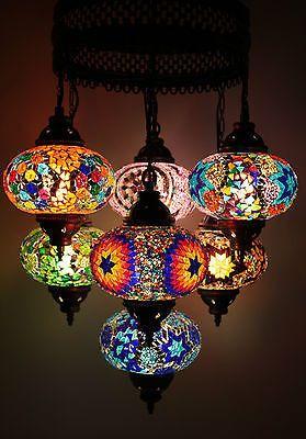 Multicolour Turkish Mosaic Hanging Lamp Light Hand Made  7 Large Globe