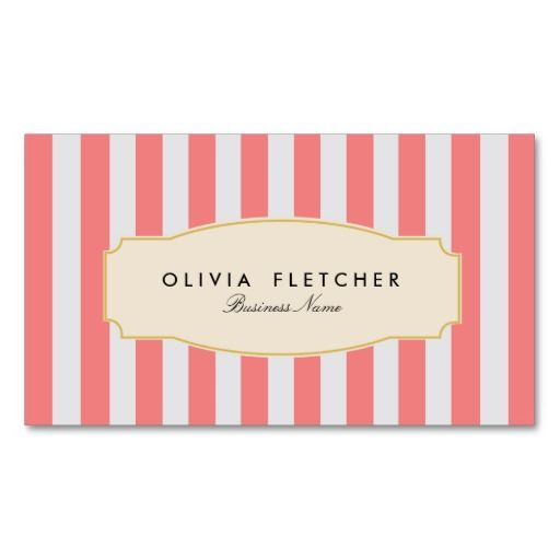 Chic Pink Stripes Business Cards | French Bakery or Boutique